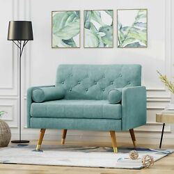 Nour Mid Century Modern Button Tufted Fabric Club Chair W/ Rolled Accent Pillows