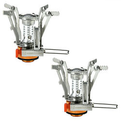 2 Portable Camping Stoves Backpacking Stove with Piezo Ignition Adjustable Valve $13.85