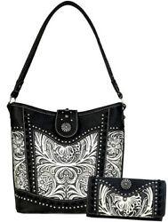 New! Trinity Ranch Floral Tooled on Leather Hobo + Wallet- BlackBeige