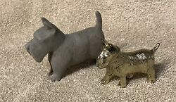vintage Scottie Dog toy figurines -  Collectible Scottish Terrier lot (2)