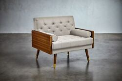 Greta Mid-century Modern Button Tufted Fabric Club Chair With Gold-tipped Legs