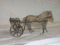 Antiqueandnbsp Gibbs Wood And Tin Horse And Carriage Pull Toy. Pony Racer