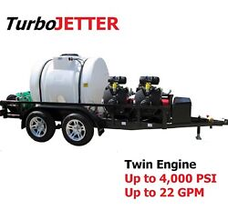 TuboJetter DX-2 Twin Engine Trailer Jetter Trailer Mounted Jetter 18 GPM  4000