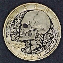 Hobo Nickel Carving RARE Skeleton - Paolo Curcio IKE Big One Dollar Coin MR THE
