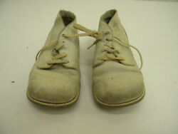 Pair Vintage/antique White Leather Thick Sole Jumpin Jack Juniors Baby Shoes