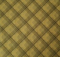 Rustic Winds BTY Faye Burgos Marcus Brothers Civil War Gold Green Diagonal Plaid