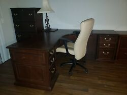 Wooden Executive Set Desk, Credenza, Dressers And 2 Tan Swivel Chairs