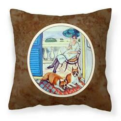 Carolines Treasures 7068PW1414 Lady with Her Boxer Fabric Decorative Pillow
