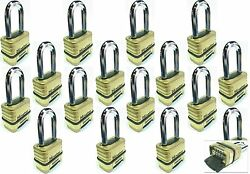 Combination Lock Set Master 1175lh Lot 16 Resettable Long Brass Sealed Carbide