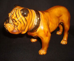"Vintage Porcelain Ceramic Bulldog 6"" Dog Figurine Gold Collar Shafford Japan"