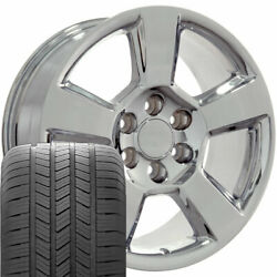 Oew Fits 20x9 Chrome Tahoe Wheels And Tires 20 Rims Chevy Gmc