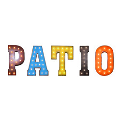 Patio Porch Outdoor Courtyard Letters Rustic Vintage Metal Marquee Light Up Sign