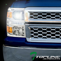 6000K HID XENON+CHROME LED HEAD LIGHTS SIGNAL LAMP AM DY 2014-15 SILVERADO 1500