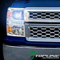 10000K HID XENON+CHROME LED HEAD LIGHTS SIGNAL LAMP AM DY 2014-15 SILVERADO 1500