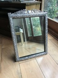 Antique 19th C Chinese Or Islamic Indian Solid Silver Frame Mirror Birds Flowers