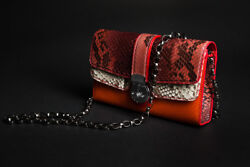 Women's Python and Calf Leather Clutch with Chain - HANDMADE
