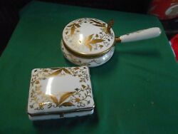 Great Collectible Isco Porcelain Trinket Box And Silent Butler