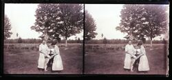 Early 1900s Glass Stereoview Slide Negative And Slide Two Woman, Boy, Dog