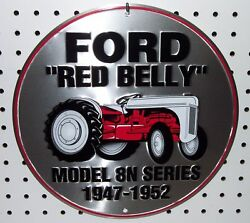 Nostalgic Ford Red Belly Tractor Model 8n 12 Tin Sign Garage Man Cave