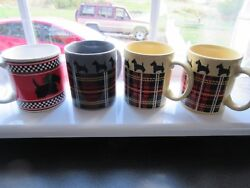4 Scotty Scottish Terrier Mugs