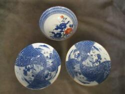 Vintage Japanese 3 Blue And White Rice Soups Bowls - 2 Patterns Dl2