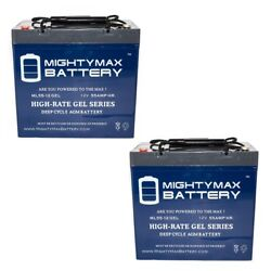 Mighty Max 12V 55AH GEL Replacement Battery for Hydroponic System - 2 Pack