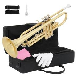 New Beginner Gold Lacquer Brass Bb Trumpet W/ Case For Student School Band