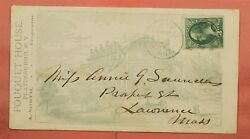 1880s Fouquet House Hotel Plattsburgh Ny Allover Advertising Rpo Cancel