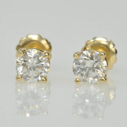 14k Yellow Gold 1 Cttw Round Brilliant Four Prong Screw Back Stud Stick Earrings