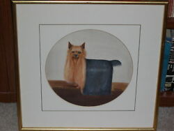 ANTIQUE DOG PAINTING YORKSHIRE TERRIER 1934 NAMED DOG