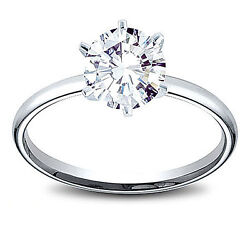14k Gold 1 Ct Round Cut Diamond Solitaire Engagement Ring E Si2