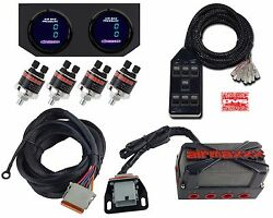 X4 Air Valve Manifold Wire Harness Dual Digital Gauges & AVS 7 Switch Box Black