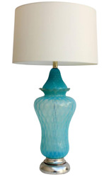 Vintage Hollywood Regency Turquoise Quilted Murano Glass Table Lamp