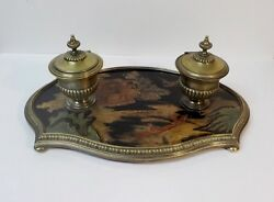 Antique French Chinoiserie Coromandel Lacquer And Bronze Inkstand, Inkwell