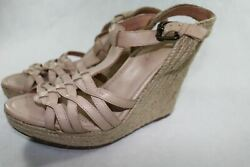 Women's 9 M Corso Como Beige Leather Wedge Sandal Twine 4.5 inch heel A156 To $49.00