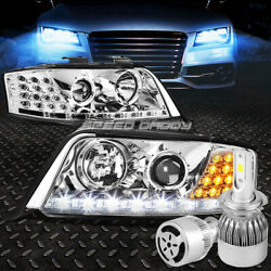 CHROME PROJECTOR HEADLIGHT+DRL+CORNER+WHITE LED H7 HID WFAN FOR C5 98-02 A6