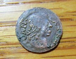 1600and039s Rare Poland Tiny Thin Copper Solimag Coin Heavy Patina Nice Detail