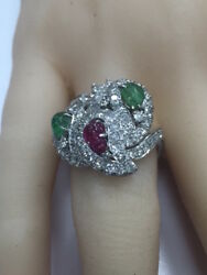 VINTAGE TUTTI FRUITTI PLATINUM DIAMOND EMERALD RUBY RING