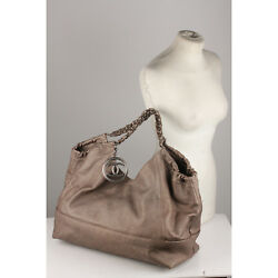 Authentic Chanel Gray Metallic Limited Edition Coco Cabas Large Hobo Bag