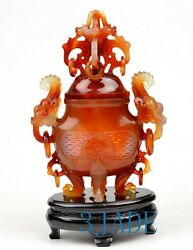 Carnelian / Red Agate Chinese Censer / Incense Statue Sculpture Asian Carving
