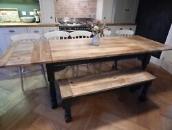 Large Rustic Oak Finish Extending 8.5 Ft Painted Dining Set Table And Chairs