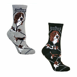 Bundle 2 Items: Basset Hound on Black and on Gray Large Cotton Socks