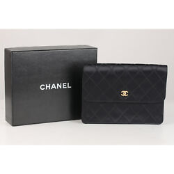 Authentic Chanel Vintage Quilted Satin Clutch Evening Bag with Rhinestones