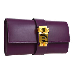 Authentic HERMES Medor Clutch Hand Party Bag Purple Box Calf France NR12282