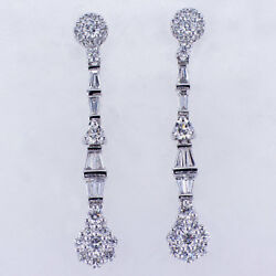1.44ct Round And Baguette Cut Fashion Diamond Earrings 18k White Gold
