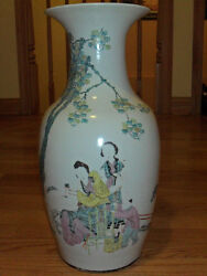 Late 19th-early 20th C Antique Chinese Oriental 18 Vase-signed