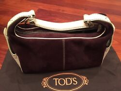 TOD#x27;S WOMENS PURSES Chocolate SUEDE HOBO STYLE SHOLDER BAG ZIP CLOSURE $145.00