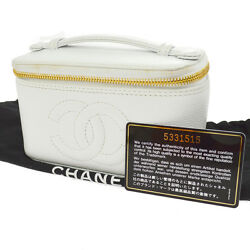 Auth CHANEL CC Logos Cosmetic Hand Bag White Caviar Skin Leather VTG AK16795i
