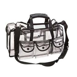 Kemier Clear Travel Makeup Bag 6 Pockets Cosmetic Organizer Shoulder Strap Large