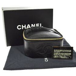 Auth CHANEL CC Cosmetic Hand Bag Vanity Black Caviar Skin Vintage A36754c